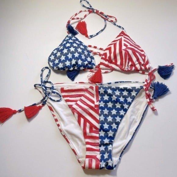 Victoria Secret American Flag 2 Pieces Swimsuit M